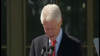 Pres. Clinton Ribs Bush at Library Dedication