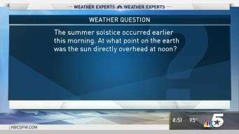 Weather Quiz: What Point on the Earth Was the Sun Directly Overhead at Noon?