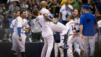 Thames Hits Game-Ending Homer as Brewers Beat Rangers 6-5