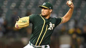 Manaea Goes 8, Pitches A's to Win Over Texas