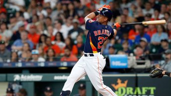 Brantley Hits 2 HRs, Astros Top Rangers for 5th Straight Win