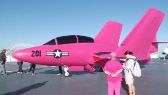 Fighter Jet Painted Pink for Breast Cancer Awareness