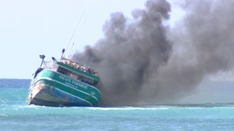 Boat Burns Off Hawaii Shore