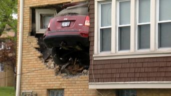 Jeep Goes Airborne Before Crashing Into Home