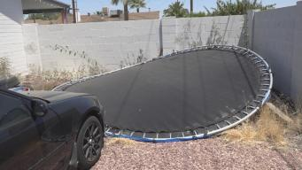 Boys Safe After Trampoline Goes Airborne