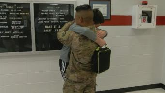 Soldier Surprises Little Brother