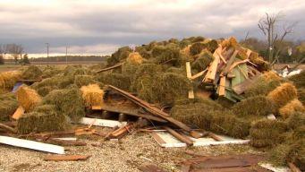 Tornado Traps Men Under Bales of Hay