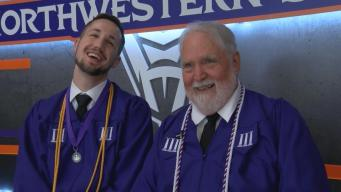 Vietnam Veteran Graduates with Grandson