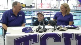 8-Year-Old Battling Cancer Signs With TCU Swimming