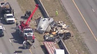 RV Destroyed in Crash Along I-20 in Grand Prairie