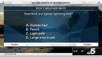Weather Quiz: How Thick is a Typical Lightning Bolt?