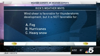 Weather Quiz: Wind Shear is Favorable for Thunderstorm Development, But it is Not Favorable for What?