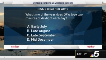 Weather Quiz: What Time of Year Does DFW Lose Two Minutes of Daylight Each Day?