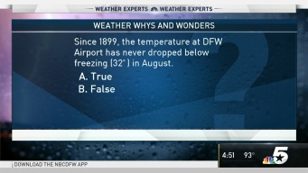 Weather Quiz: True or False - Since 1899, the Temperature at DFW Airport has Never Dropped Below Freezing in August