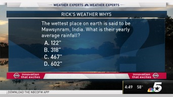 Weather Quiz: Rainfall at Wettest Place on Earth?