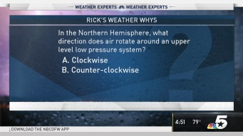 Weather Quiz: In the Northern Hemisphere, What Direction Does Air Rotate Around an Upper Level Low Pressure System?