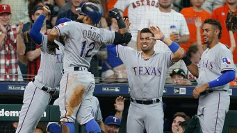 Odor Hits Two Home Runs, Rangers Beat Astros