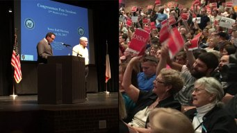 Raucous Town Hall Crowd Often Drowns Out Rep. Pete Sessions