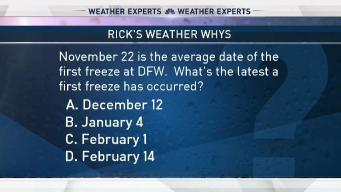 Weather Quiz:Latest First Freeze at DFW