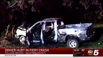 Driver Hurt in Fiery Crash Near Kaufman County
