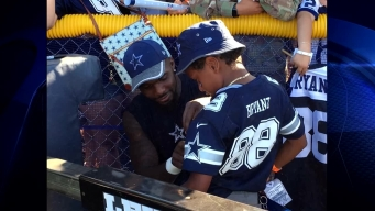 Dez Bryant Plays Catch with Young Fan at Training Camp