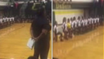 DeSoto HS Volleyball Players Kneel During National Anthem