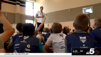 Dirk Nowitzki Visits Mavericks Hoop Camp