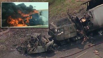 3 Killed in Fiery Crash Along I-20 in Terrell
