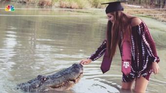 Texas A&M Student Takes Graduation Photos With Alligator
