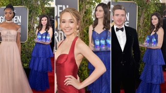 Fiji Water Girl Photobombs the Golden Globes Red Carpet
