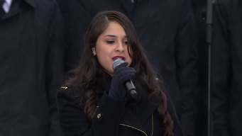 Monica Saldivar Sings National Anthem at JFK 50 Event