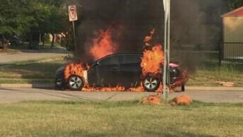 Denton Woman Escapes Burning Kia