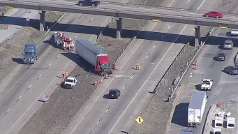 I-30 Reopens in Rockwall After 18-Wheeler, Truck Crash