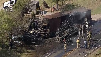 FM 407 Back Open After Fiery Crash in Justin