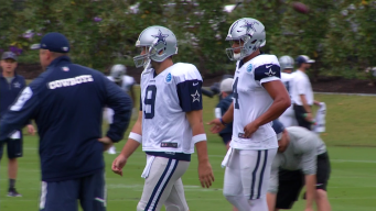 Dak Practices with First Team, Romo With Scout Team