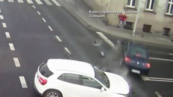 Lamp Post Saves Woman From Speeding Car: Caught On Camera