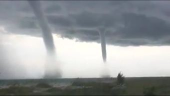 Double Waterspout Develops Off Florida Coast