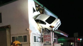 Speeding Car Goes Airborne, Plows Into 2nd Floor of Building in SoCal