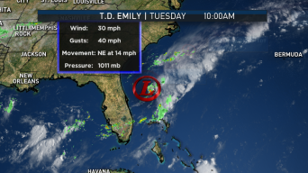 Tropical Depression Emily Moves Away From U.S. Coast
