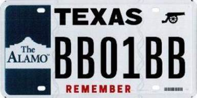 """""""Remember the Alamo"""" With Specialty License Plate"""