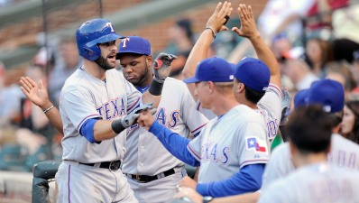 Moreland Hits 2 Homers as Rangers Beat Orioles