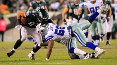 Eagles Lead Cowboys, 24-0 At Half