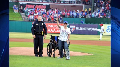 Arlington Officer Throws Out First Pitch at Rangers Game