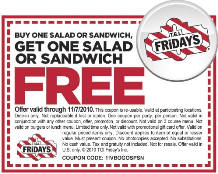 BOGO Coupon for TGI Friday's
