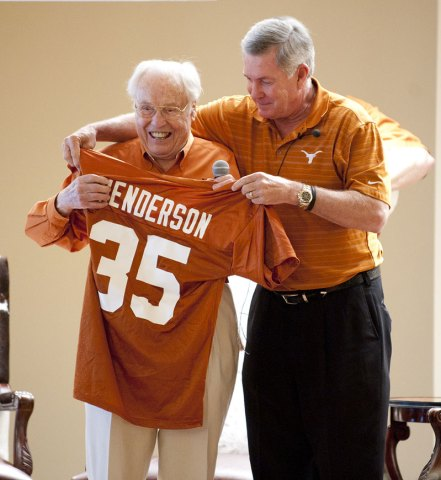 Oldest Former Longhorn Meets Mack Brown