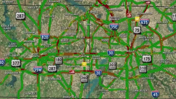 Map Captures Friday Afternoon Rush Hour Gridlock   NBC 5 Dallas