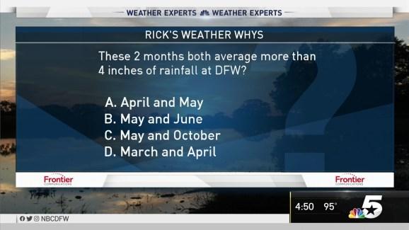 Weather Quiz: Montlhly Rainfall Amount Averages