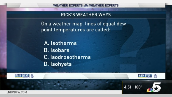 Weather Quiz: On a Weather Map, Lines of Equal Dew Point