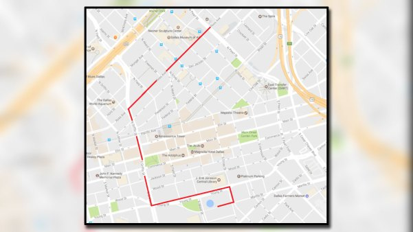 This Map Shows The Route Of The 2017 Dallas Mega March Which Takes Place April 9 2017 In Downtown Dallas Photo Credit Dallas Police Google Nbc 5 News