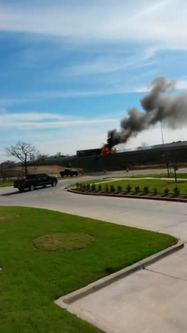 Tractor-Trailer Catches Fire on Texas 360